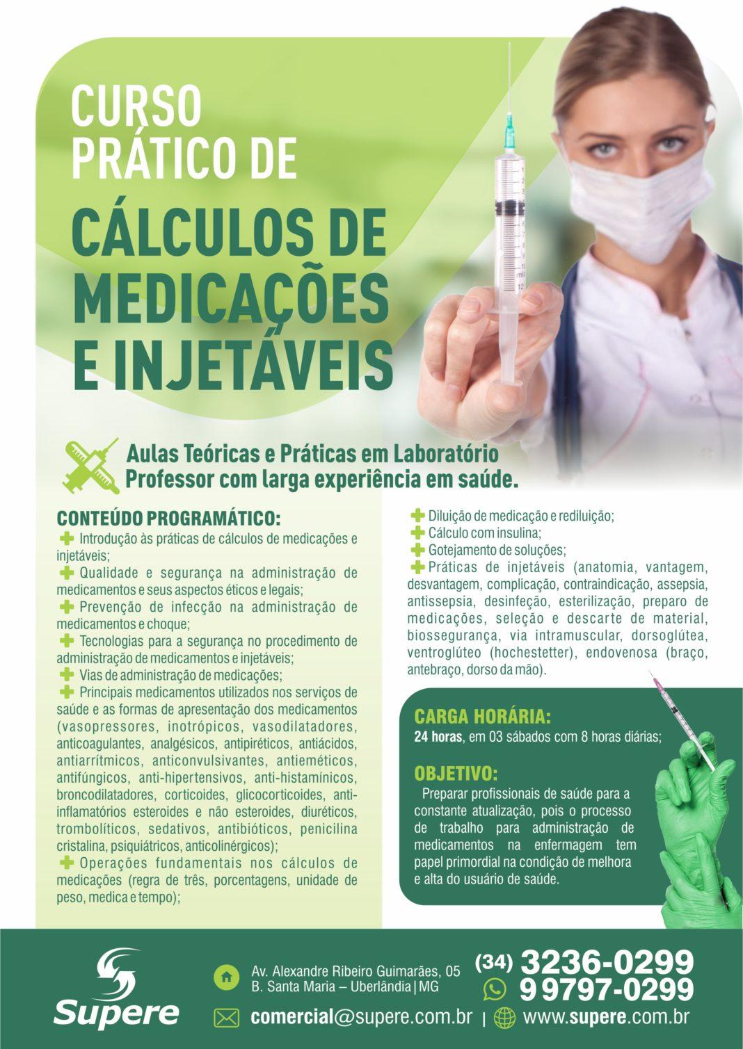 CALCULO DE MEDICACOES E INJETAVEIS